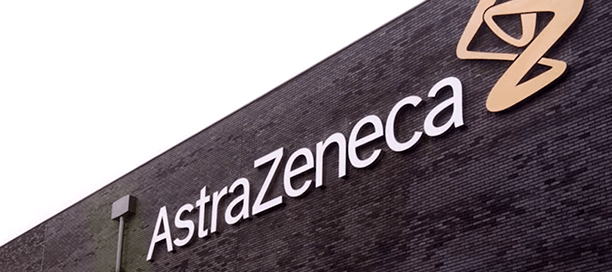 AstrazZeneca logo on the side of a building.