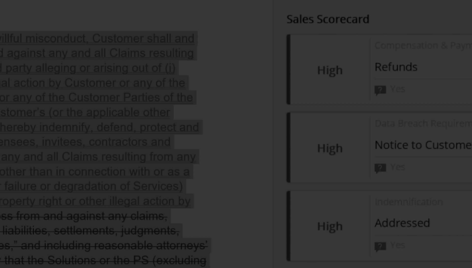 A sales scorecard being displayed while performing contract analytics with DocuSign Analyzer.