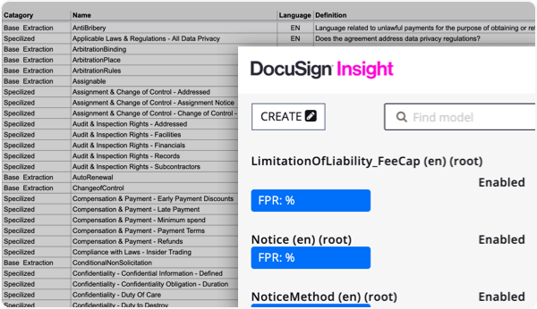 Use DocuSign Insight's out-of-the-box AI models.
