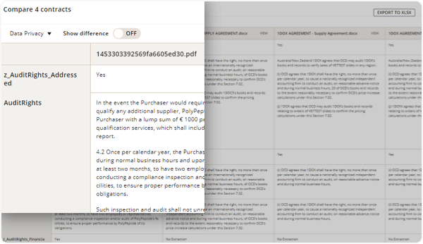 Compare and contrast contract language by viewing agreements side-by-side in DocuSign Insight.