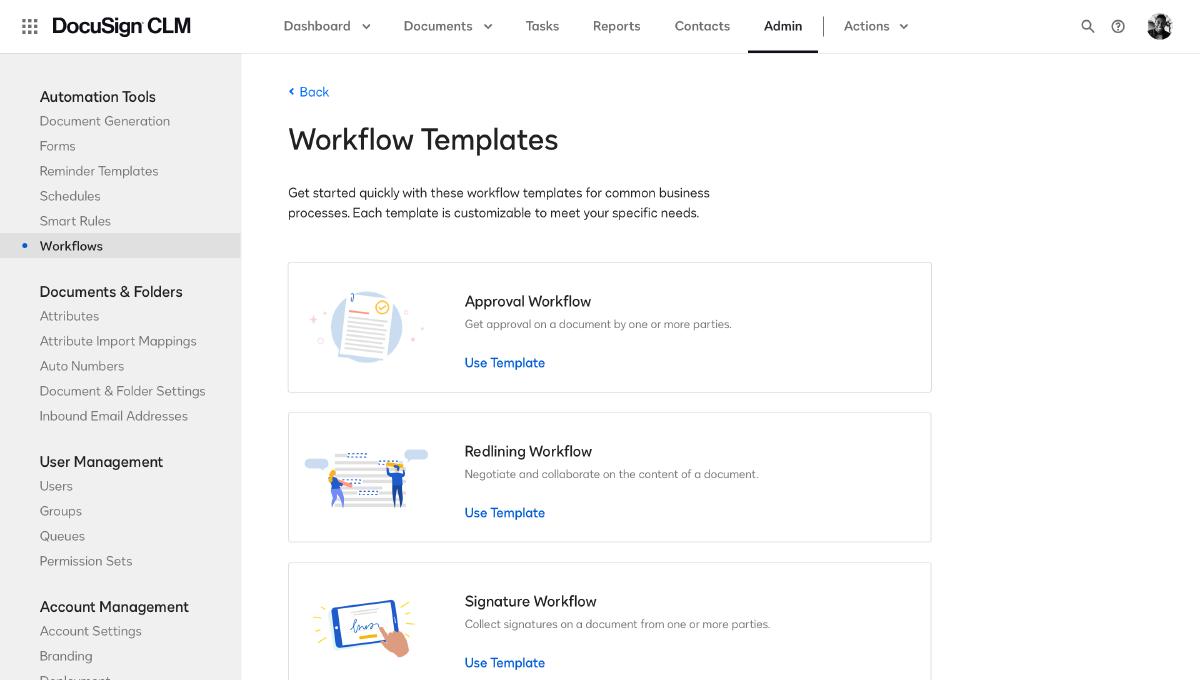 CLM workflow templates
