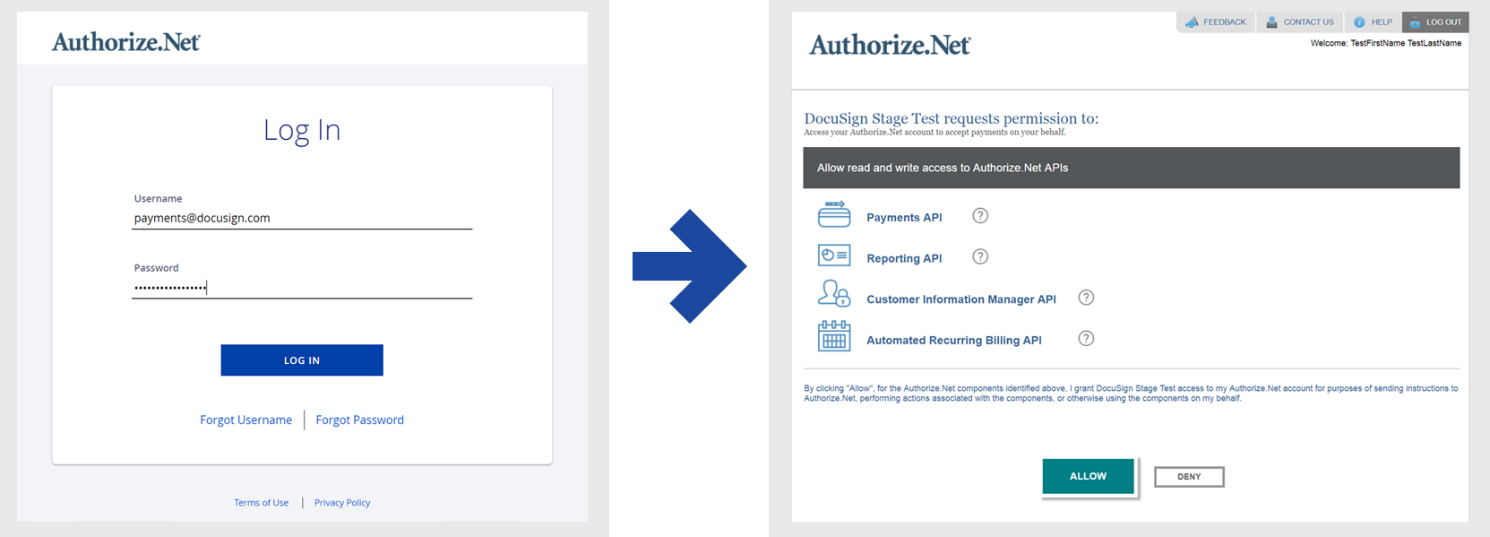 Connect to your Authorize.Net account