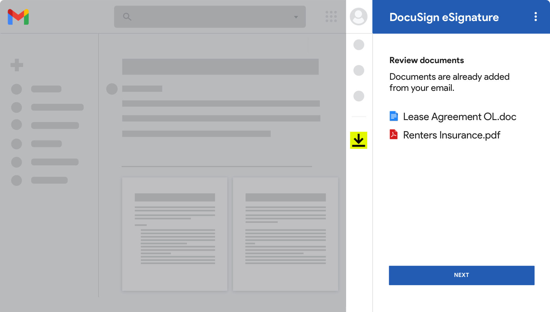 Gmail screenshot showing documents ready for review in DocuSign eSignature.