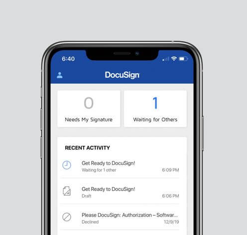 A screenshot of the DocuSign mobile app