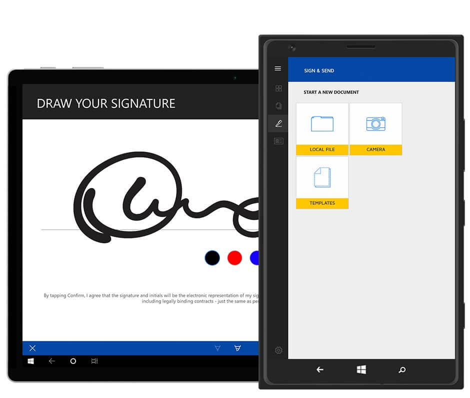 Draw your signature in the DocuSign app on your tablet