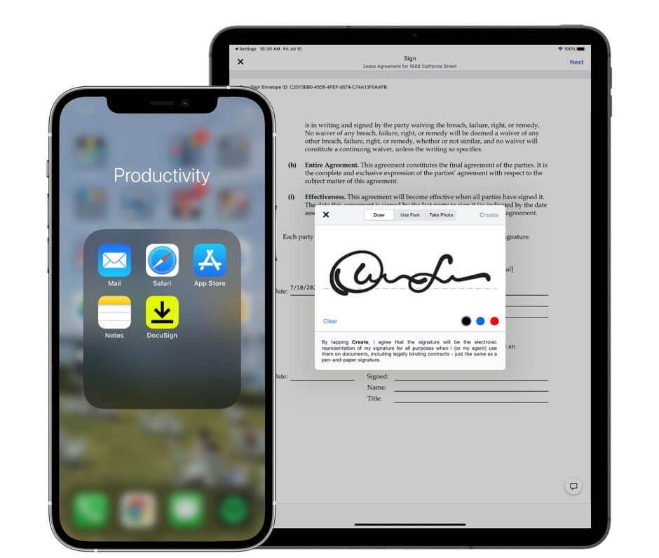 DocuSign app on both mobile and tablet