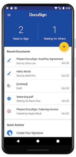 Screenshot of DocuSign's mobile app for Android.