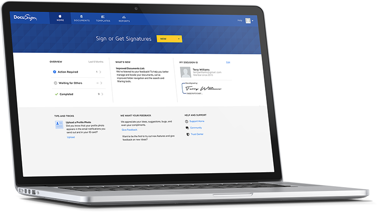 DocuSign signing experience in device