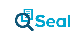 Logo for Seal Software, with a magnifying glass focused on a document.